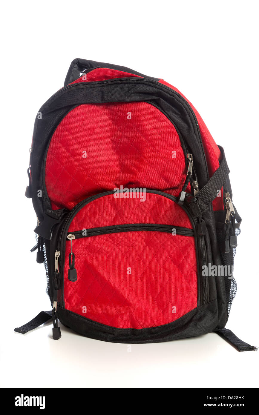 Red backpack on white background - Stock Image