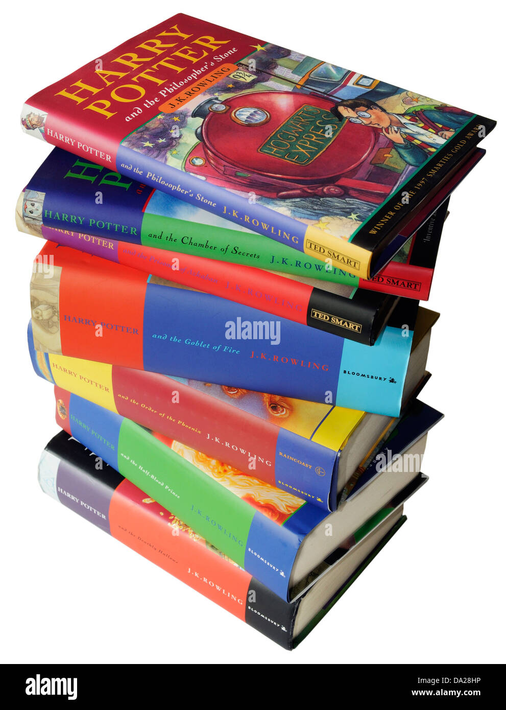 The 7 Harry Potter books - Stock Image