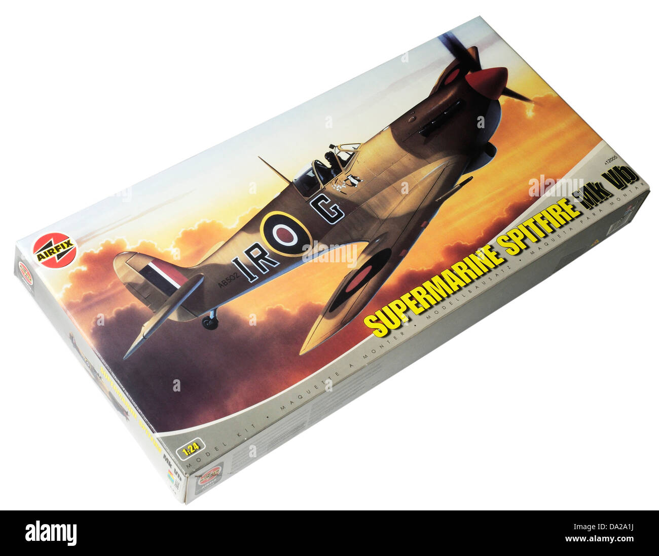 An Airfix model Spitfire in 1/24 scale - Stock Image