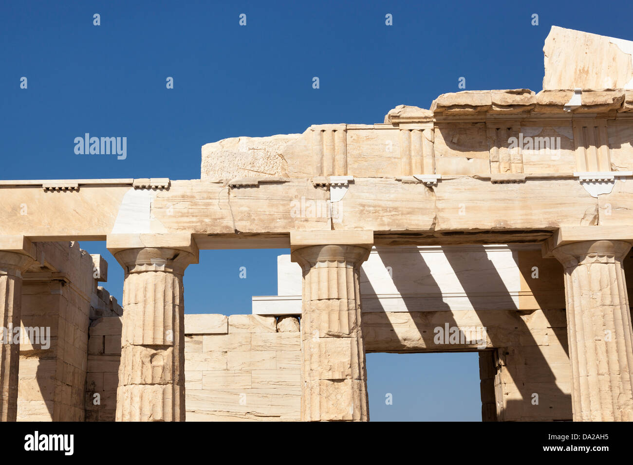 The Propylaea, the entrance to the Acropolis, Athens, Greece - Stock Image