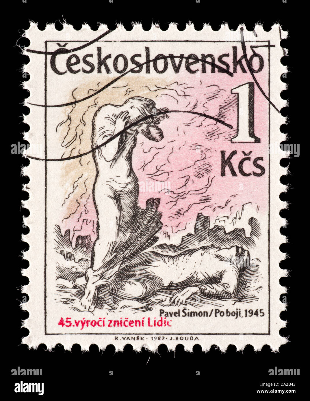 Postage stamp from Czechoslovakia depicting the destruction of Lidice and Lezaky (45'th anniversary). site of Nazi Stock Photo