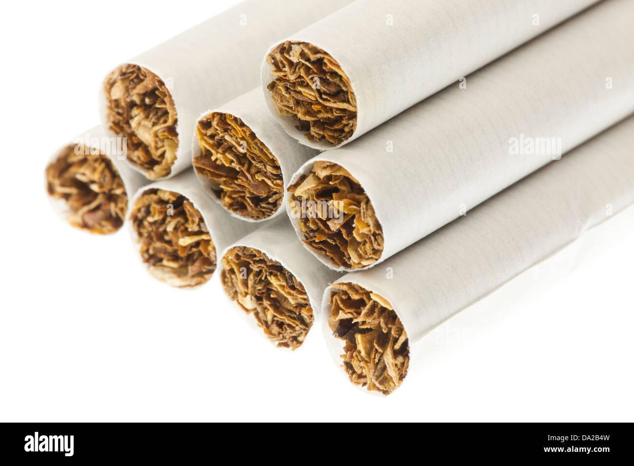 Cigarettes closeup on white ( tobacco cigarette, tobacco cigarettes ) - USA - Stock Image