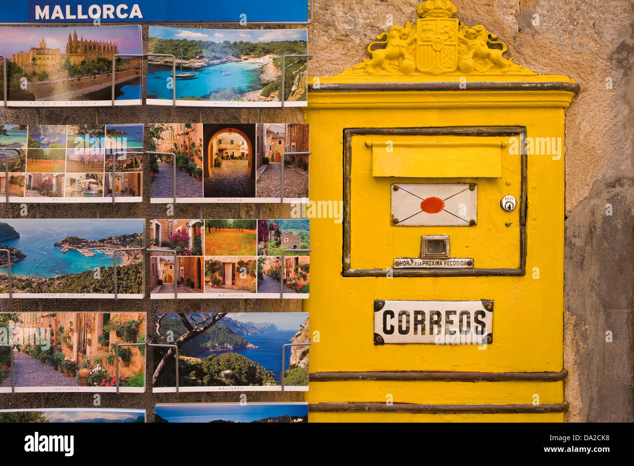 Spanish Postcards and Postbox - Stock Image