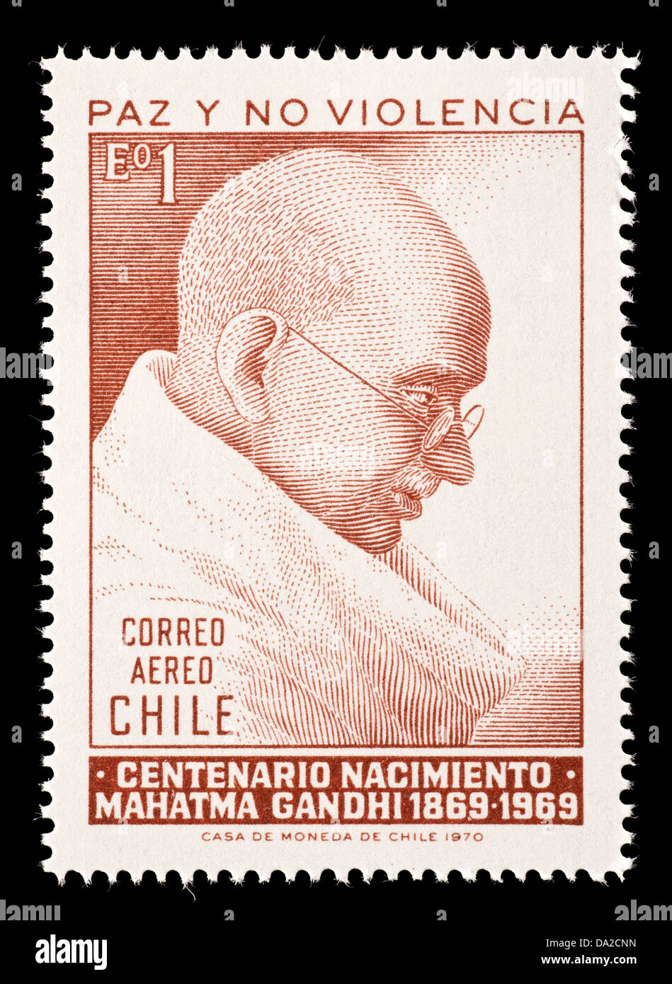 Postage Stamp From Chile Depicting Mahatma Gandhi