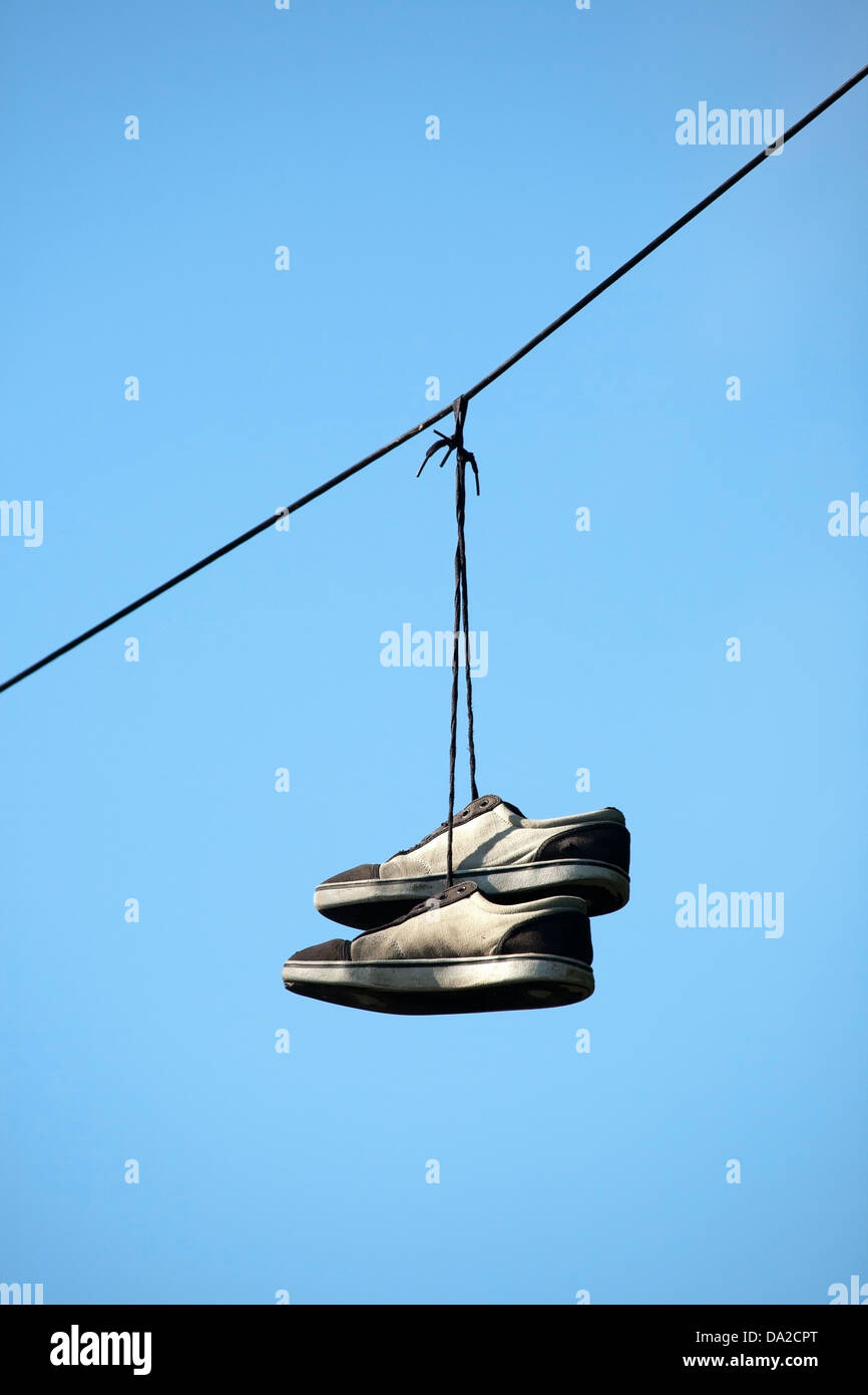 Shoes On A Wire   Pair Of Shoes Hanging From A Electric Wire Stock Photo 57831616 Alamy