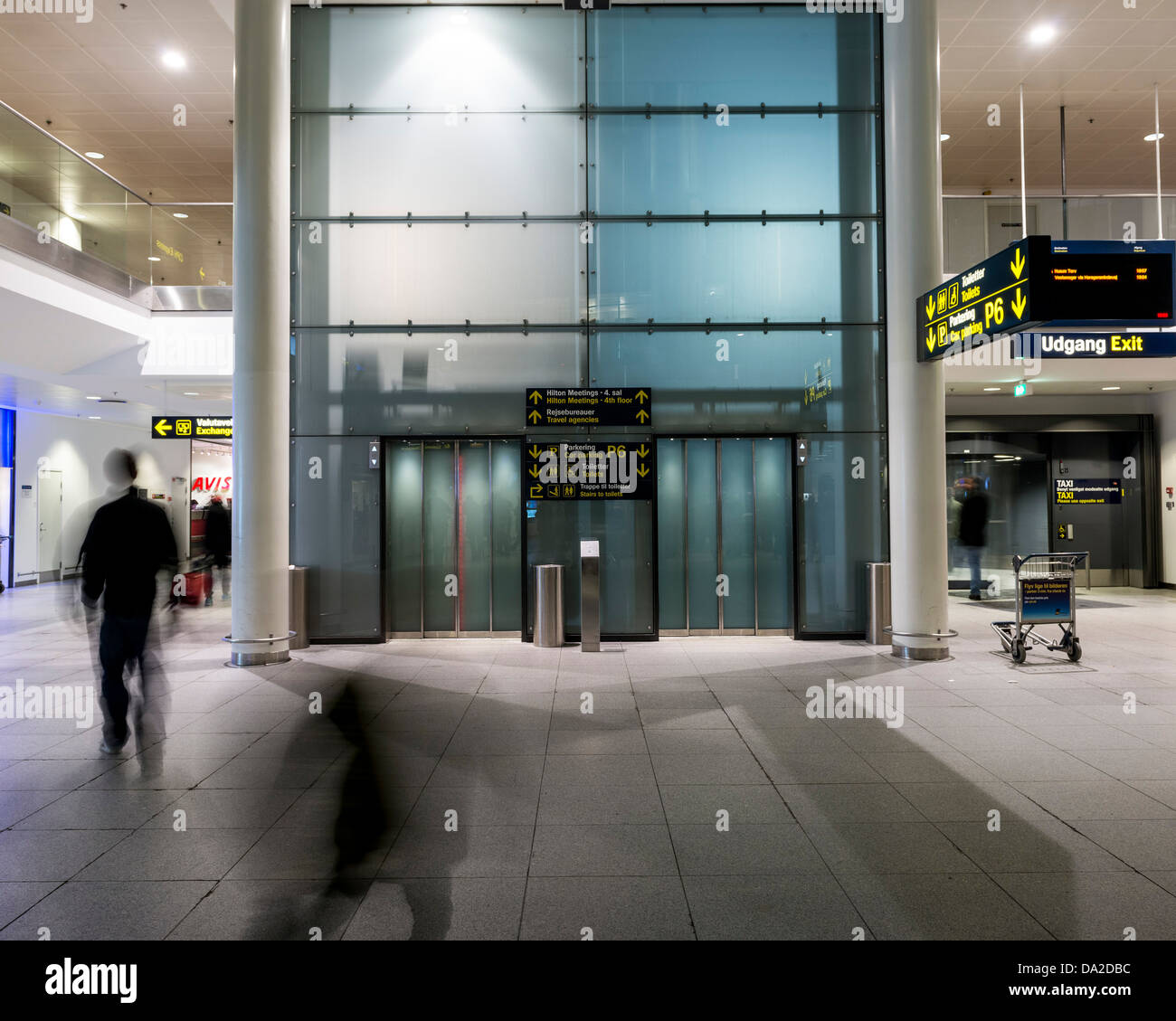 Copenhagen Airport, Copenhagen, Denmark. Architect: Vilhem Lauritzen, 1998. Elevators, Terminal 3. Stock Photo