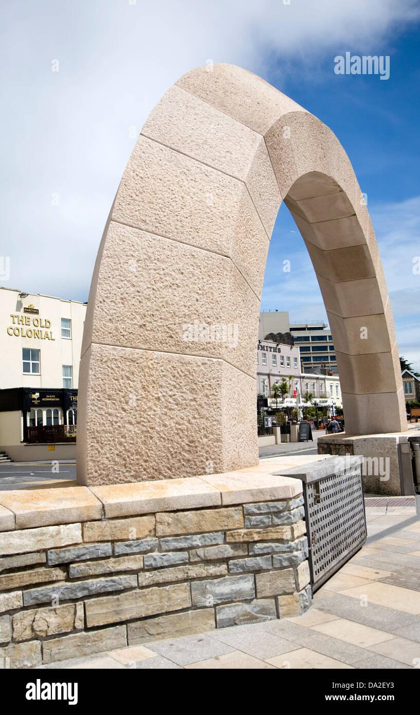 Stone archway  promenade feature Weston Super Mare, Somerset, England - Stock Image