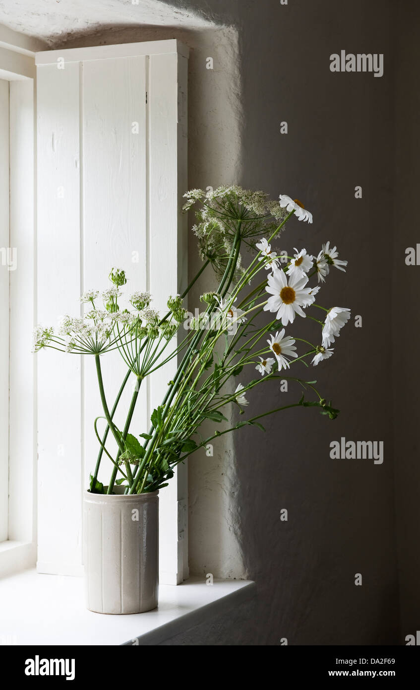 A white painted cottage windowsill in summer, with white shutters and jug of white wildflowers, cow parsley, ox - Stock Image