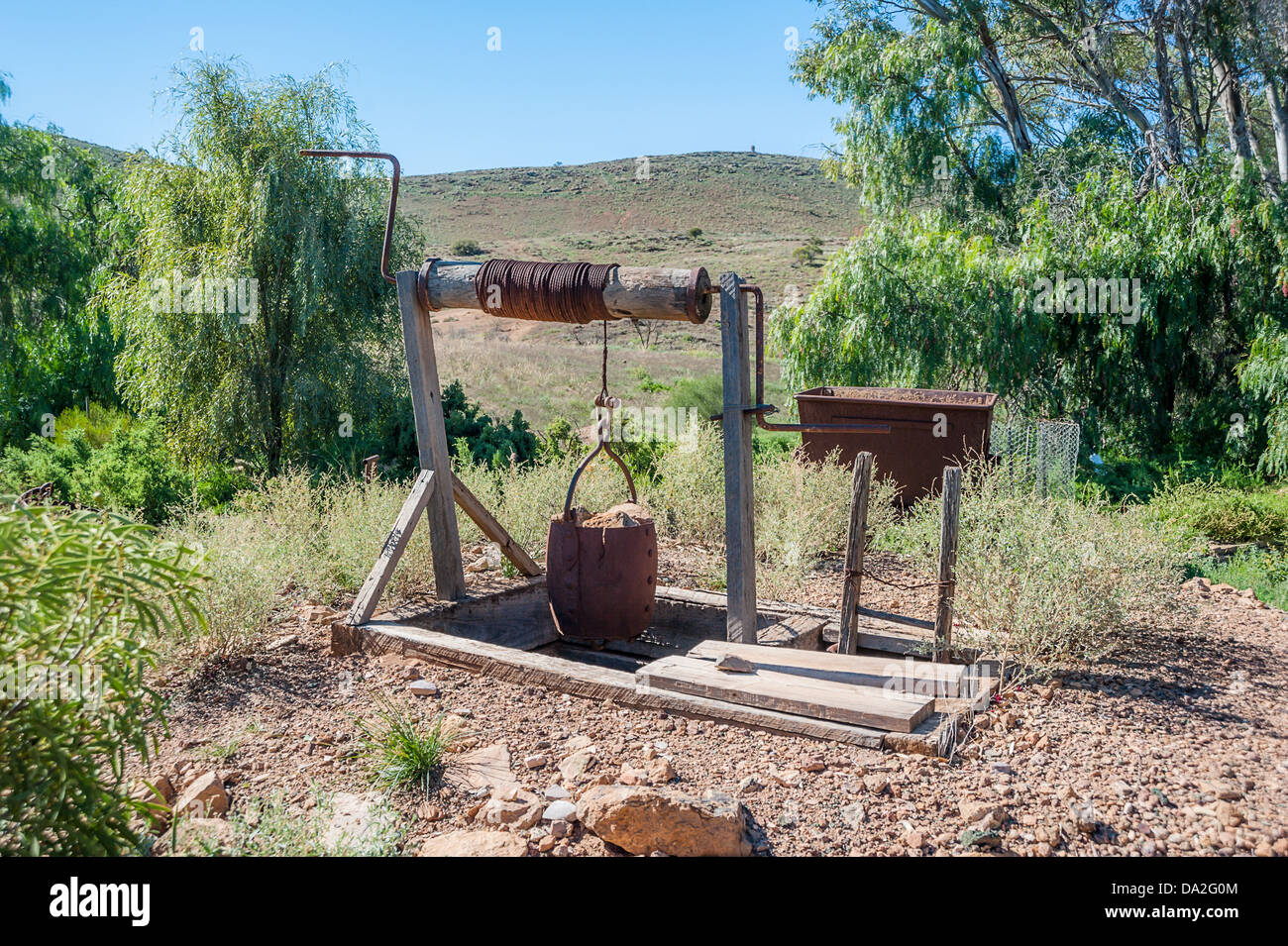 An old mine shaft in the town of Blinman near the ruggedly beautiful Flinders Ranges in the Australian outback. Stock Photo