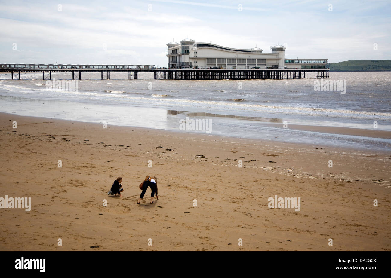 Sandy beach and pier Weston Super Mare, Somerset, England - Stock Image