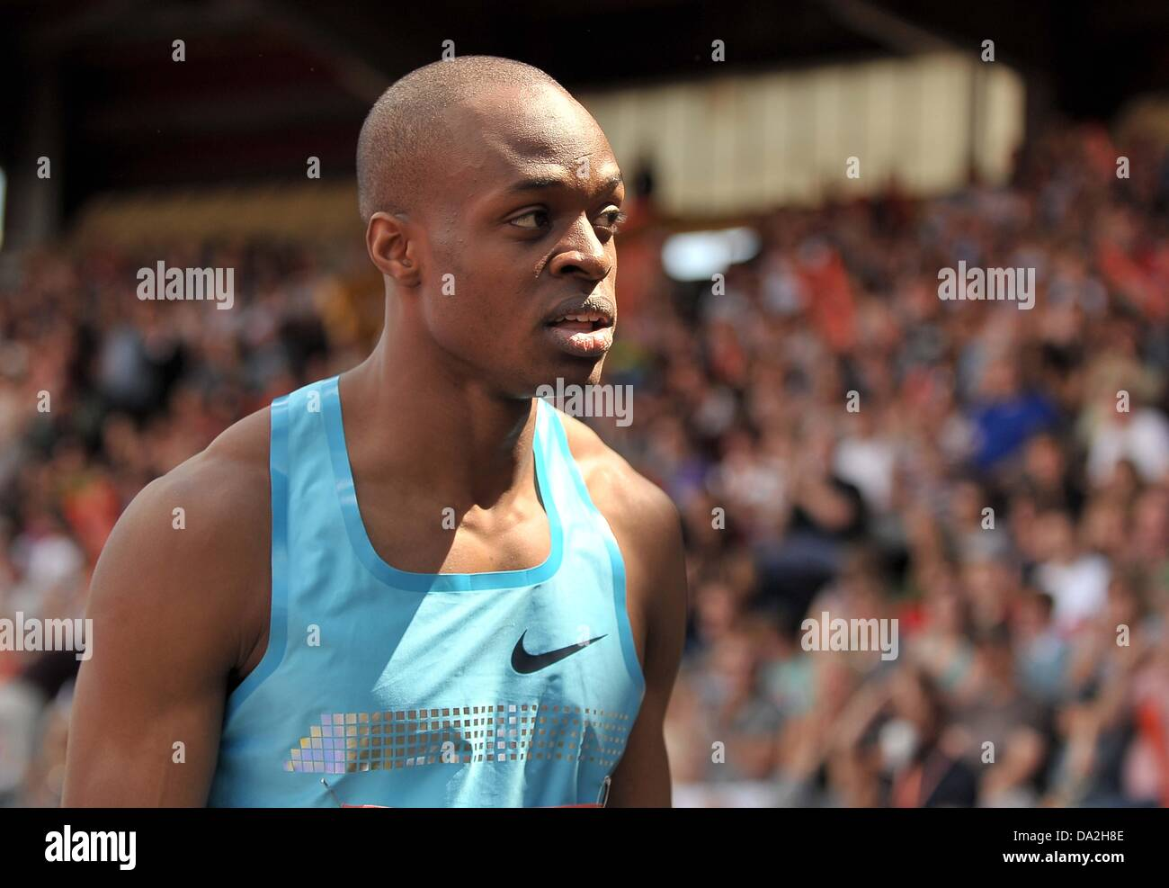 Birmingham, UK. 30th June 2013. James Dasaolu (GBR). Mens 100m.  Sainsburys Grand Prix. Diamond League. Alexander Stock Photo