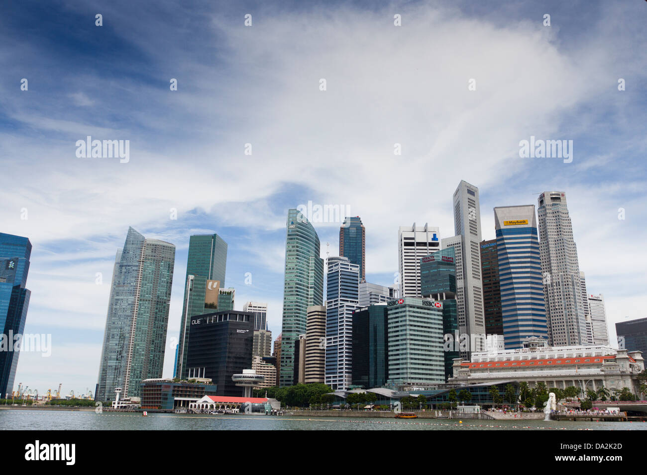Financial/business district and banks from Marina Bay, Singapore - Stock Image