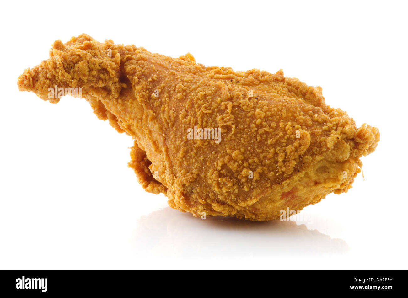 Deep Fried chicken drumstick isolated on white background. - Stock Image