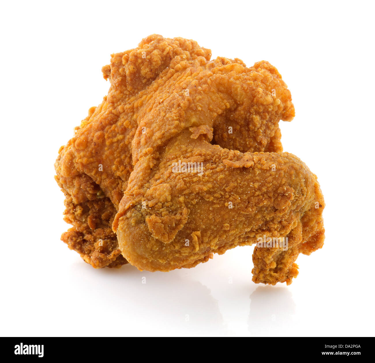 Fried chicken wing isolated on white background. - Stock Image