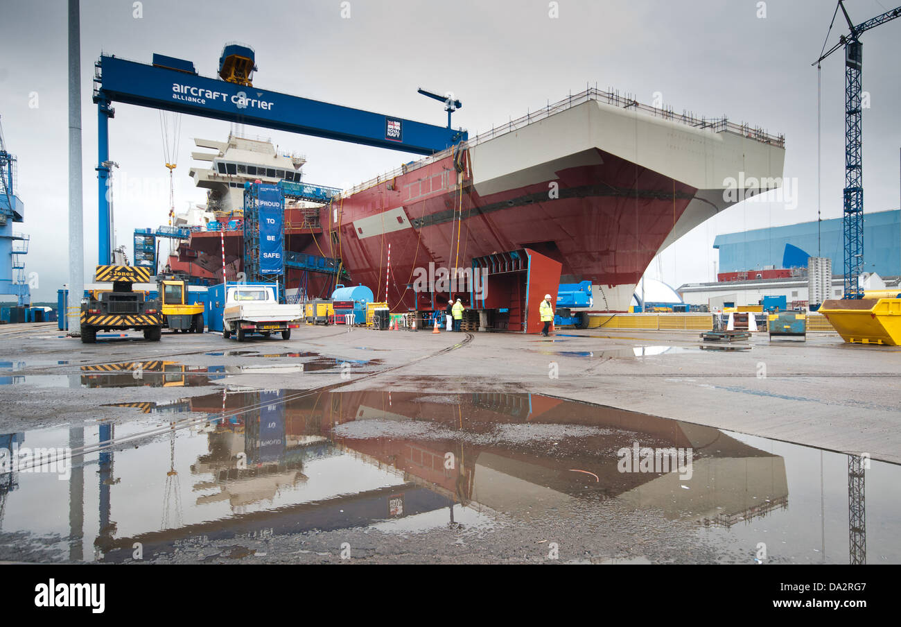 HMS Queen Elizabeth the first of two new aircraft carriers being built for the Royal Navy. Stock Photo