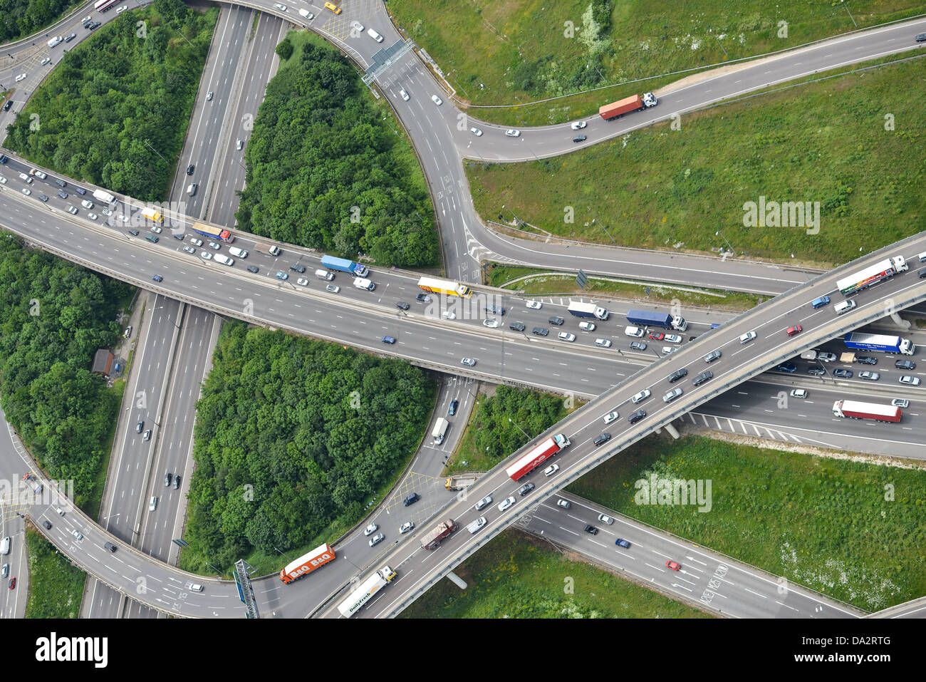 Aerial photograph of the M25 A2 junction with the A282 Stock Photo