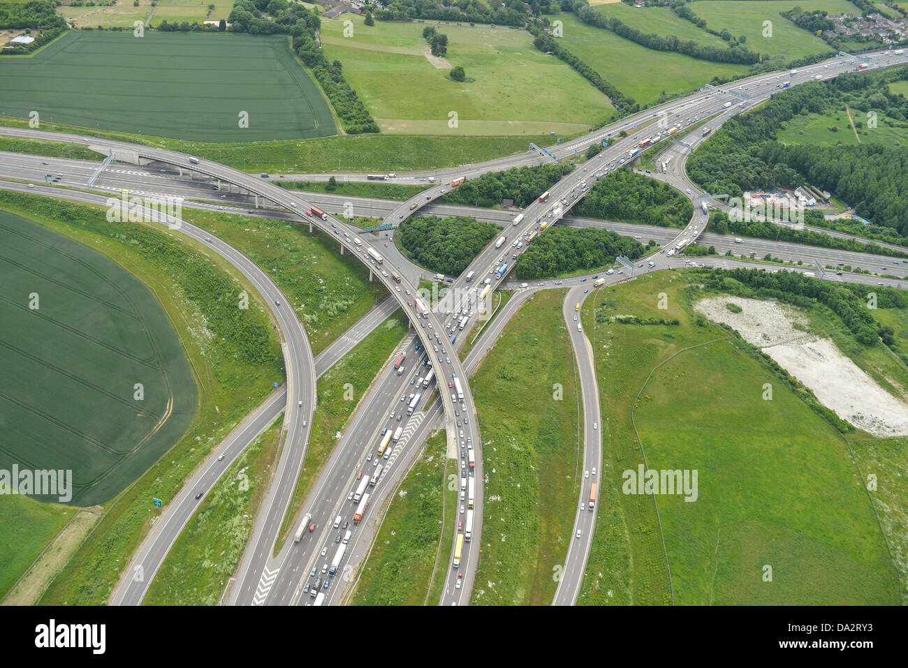 Aerial photograph of the M25 A2 junction with the A282 - Stock Image