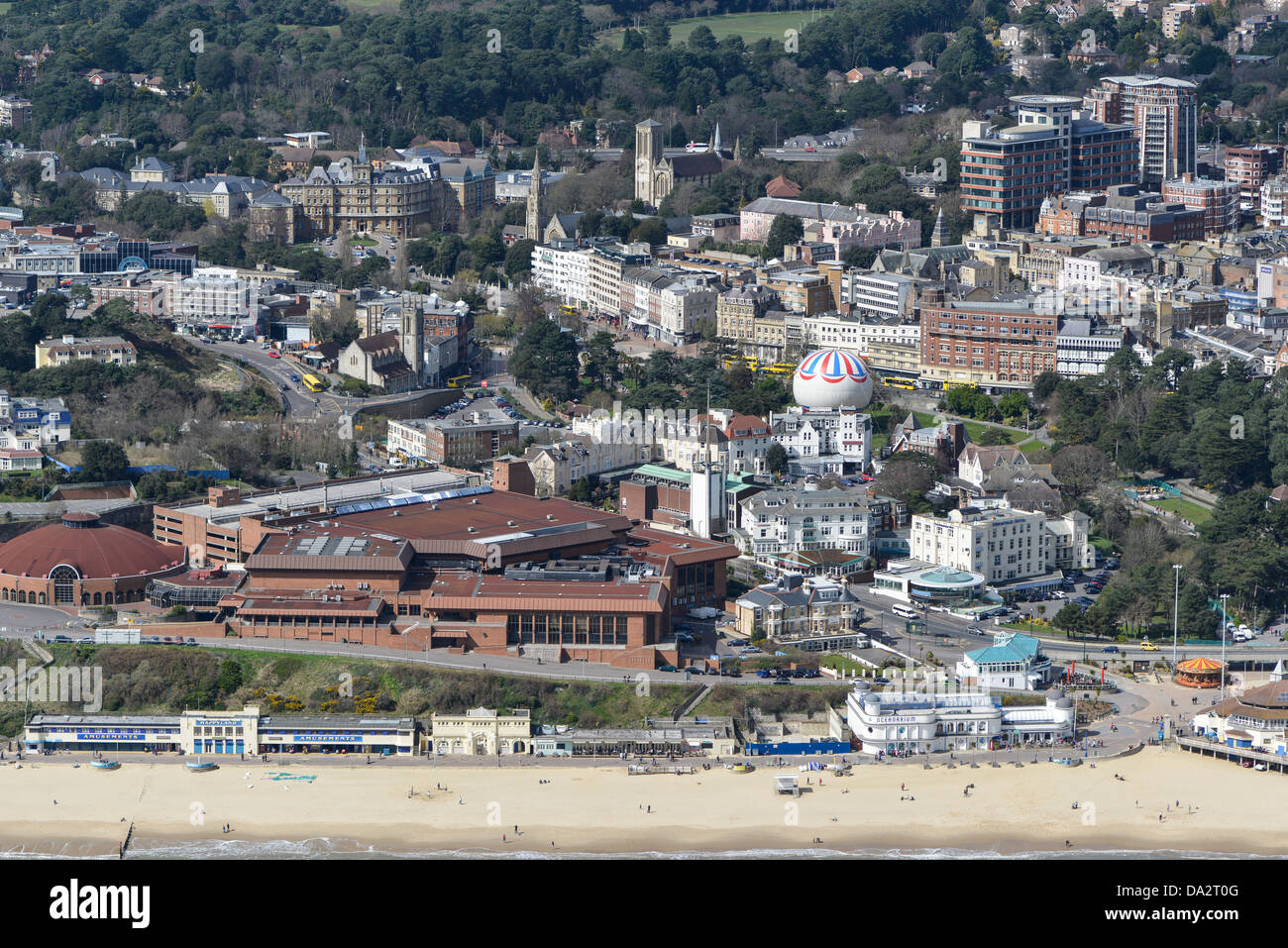 Aerial photograph of Bournemouth Sea front - Stock Image