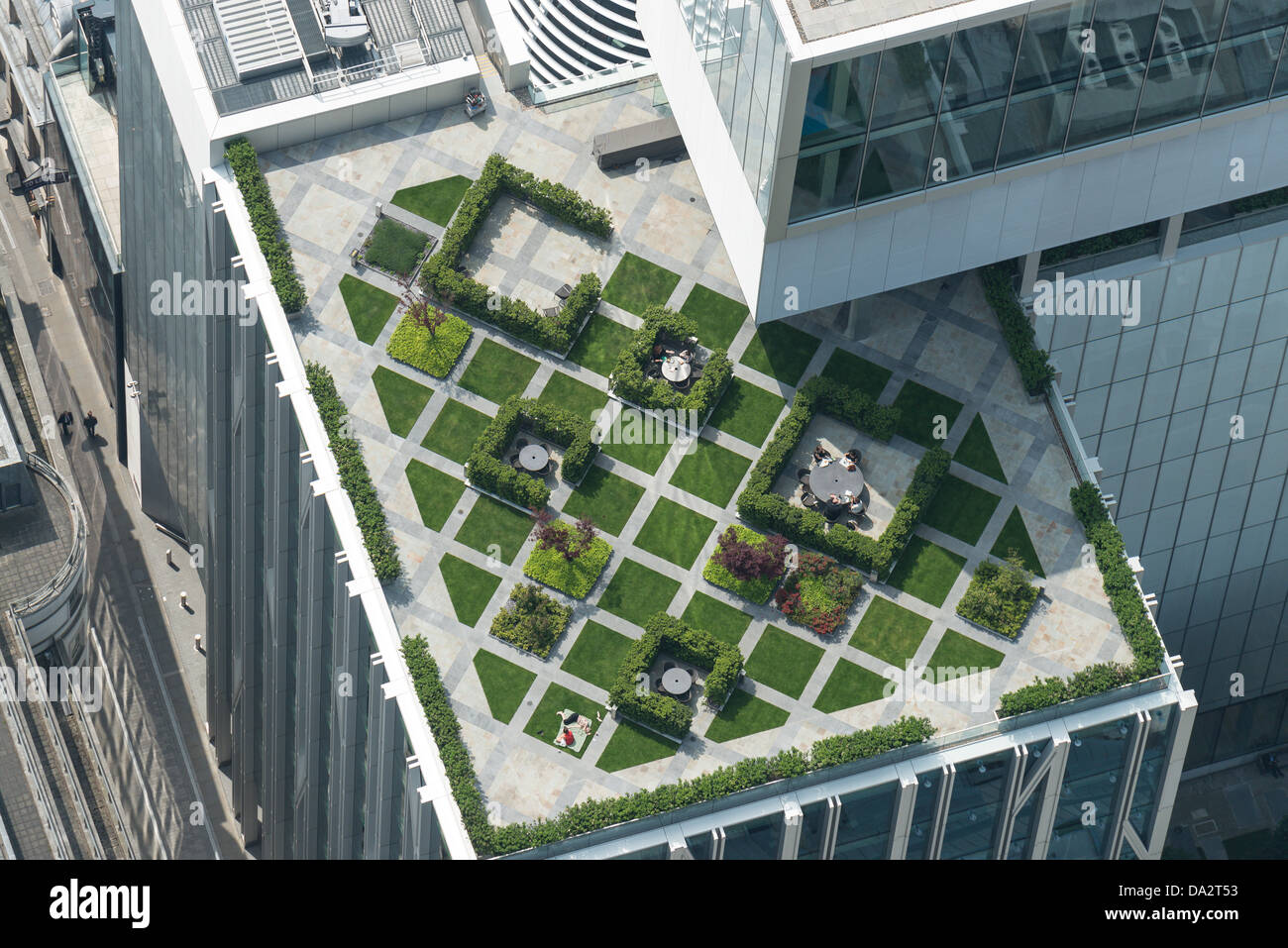 Aerial photograph of a rooftop garden in London - Stock Image