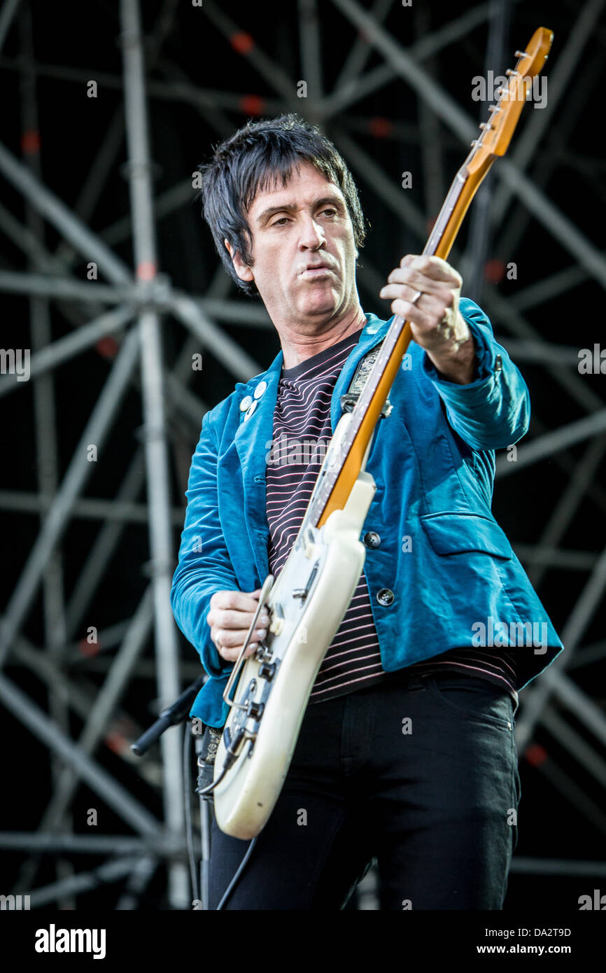 Milan, Italy. 1st July, 2013. Johnny Marr ex guitarist of The Smiths performs live at Ippodromo del Galoppo during - Stock Image