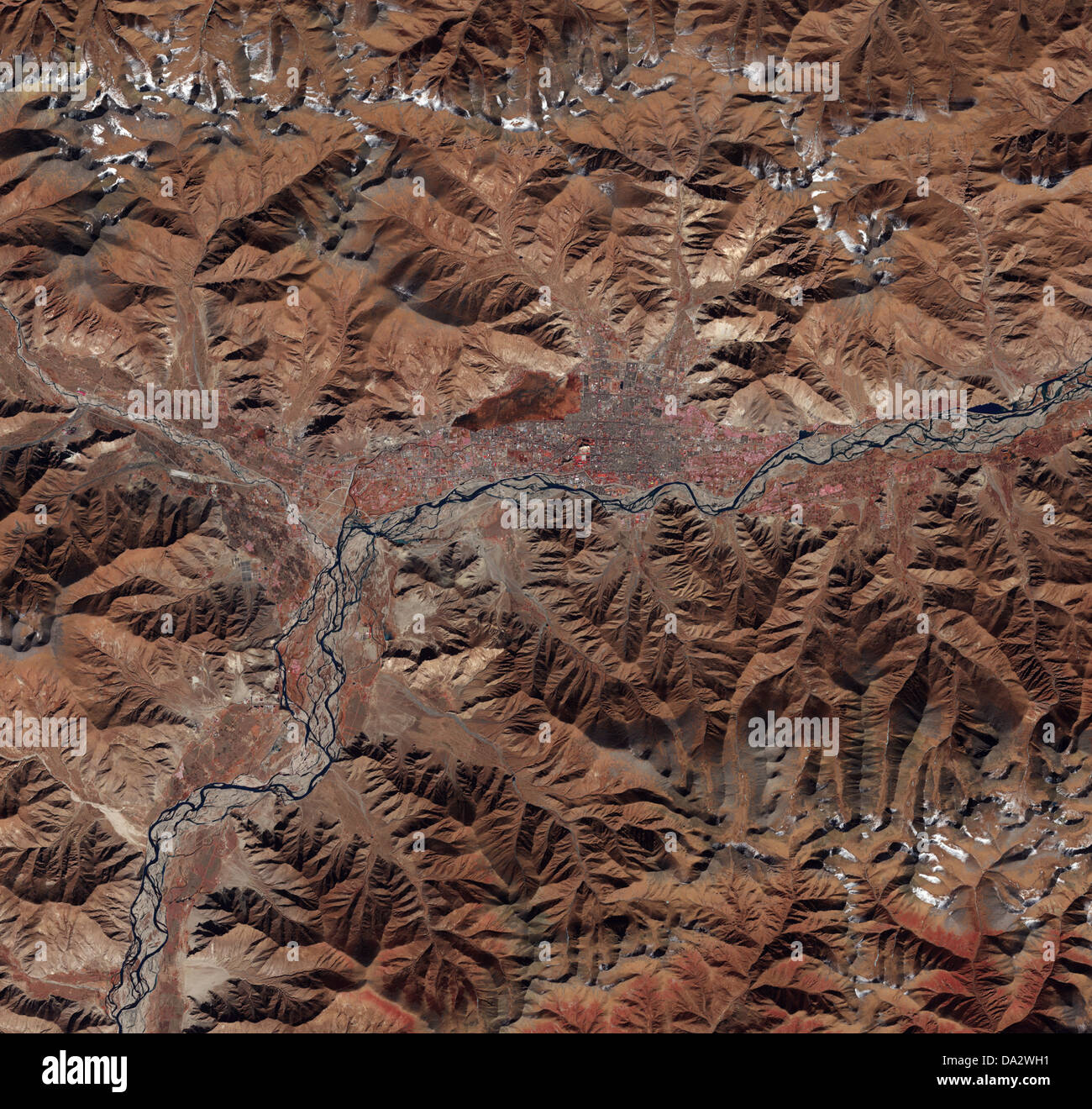 Satellite image of Lhasa, Tibet showing geography and land mass. - Stock Image