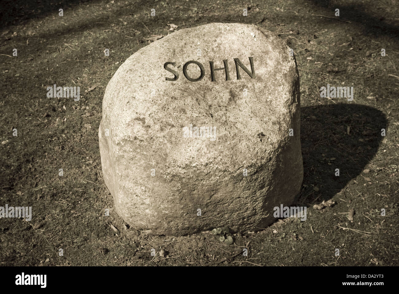 grave inscription son on a german cemetery - Stock Image