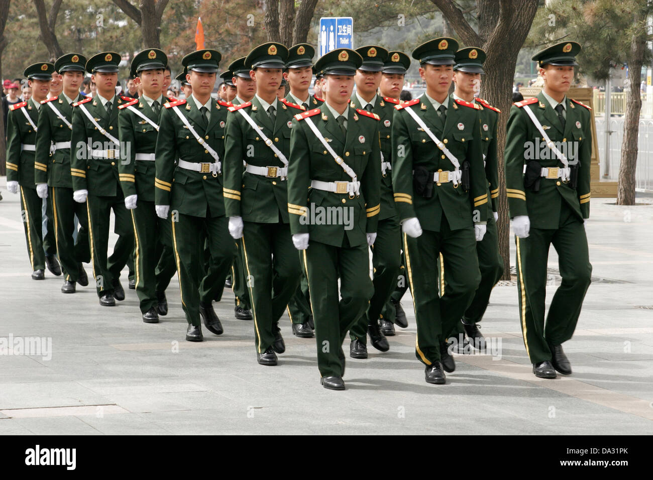 Chinese soldiers marching on Tiananmen Square, Beijing - Stock Image