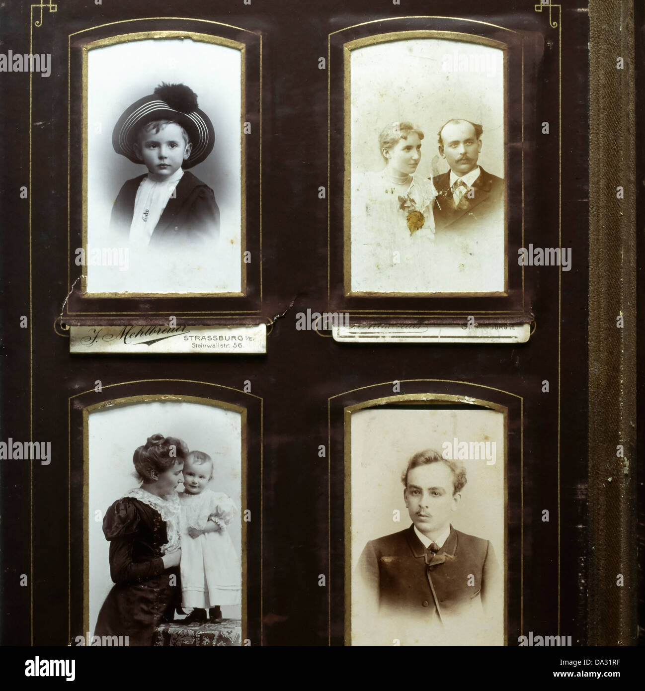 Ancient picture album with family portraits 19th Century - Stock Image