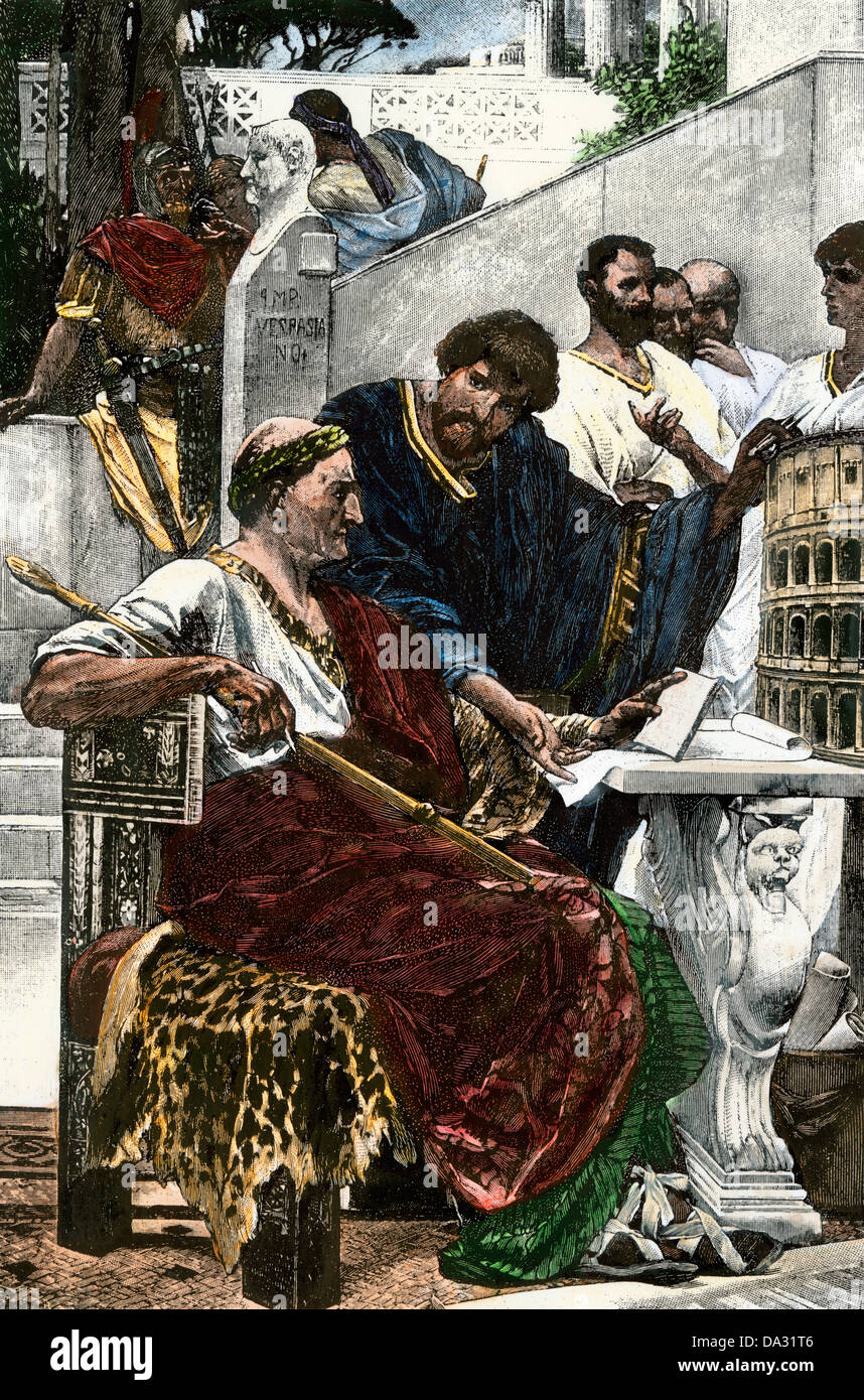 Roman Emperor Vespasian planning construction of the Colosseum. Hand-colored woodcut - Stock Image