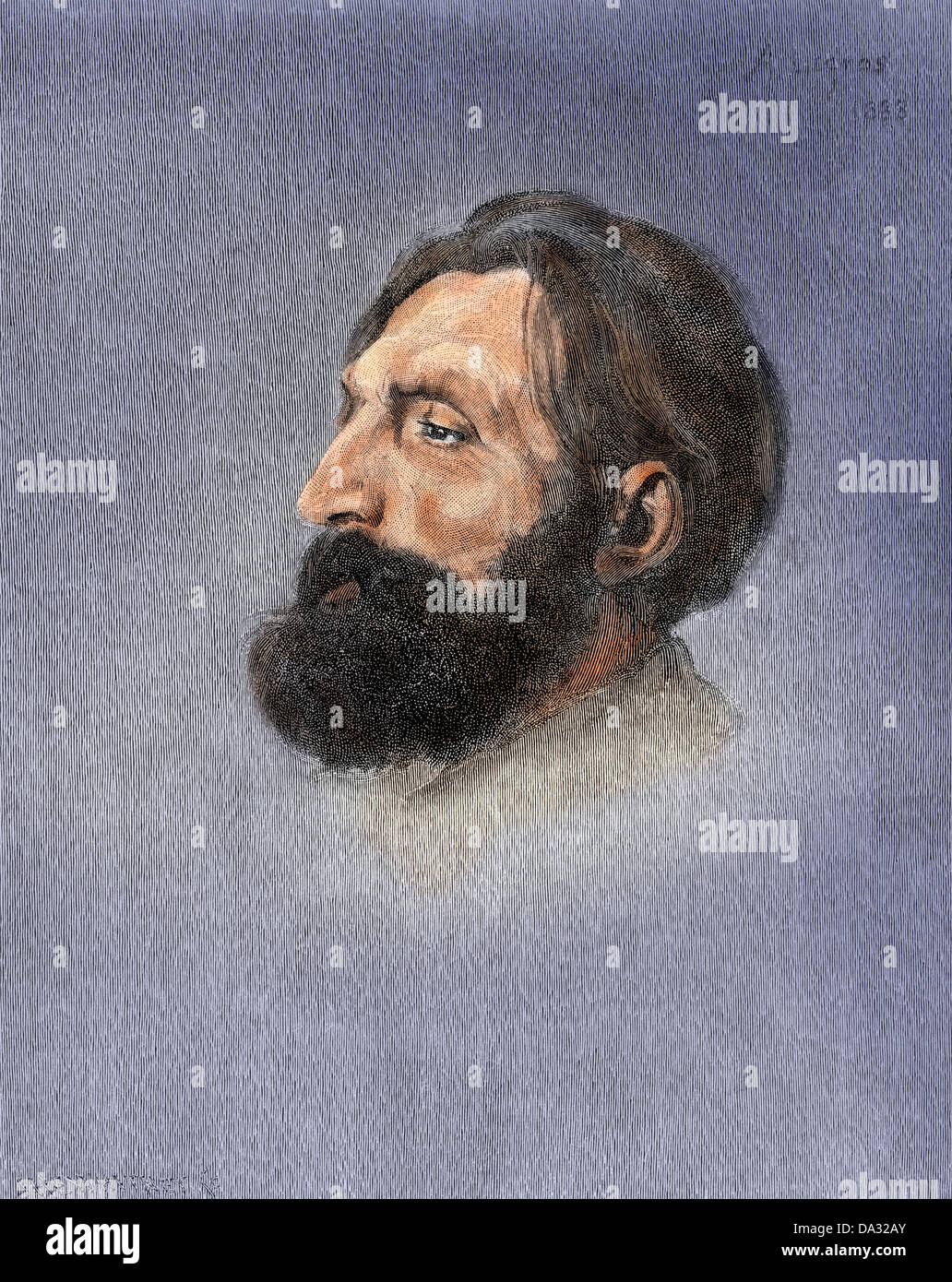 Portrait of sculptor Auguste Rodin. Digitally colored woodcut of a portrait by Legros - Stock Image