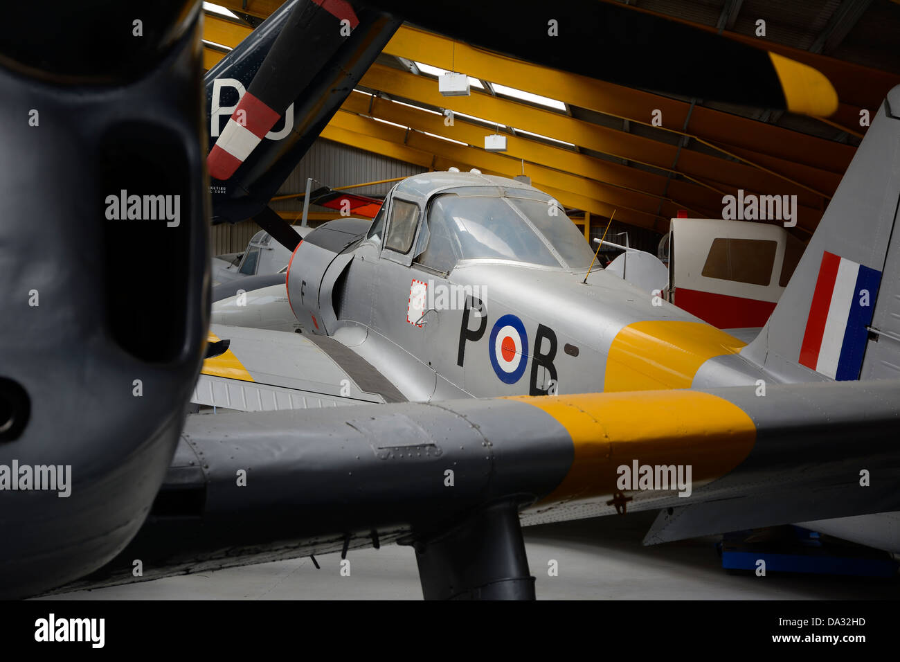 VINTAGE PERCIVAL PISTON PROVOST TRAINING AIRCRAFT OF THE RAF AT THE NEWARK AVIATION MUSEUM.  NOTTINGHAMSHIRE.  ENGLAND. - Stock Image
