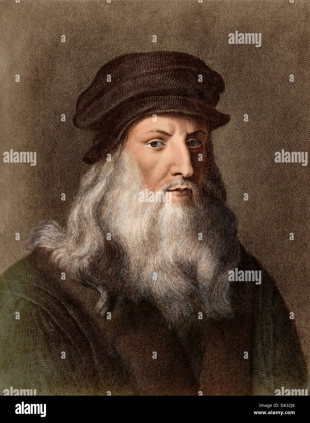 Portrait of artist Leonardo da Vinci. Digitally colored photograph of a print - Stock Image