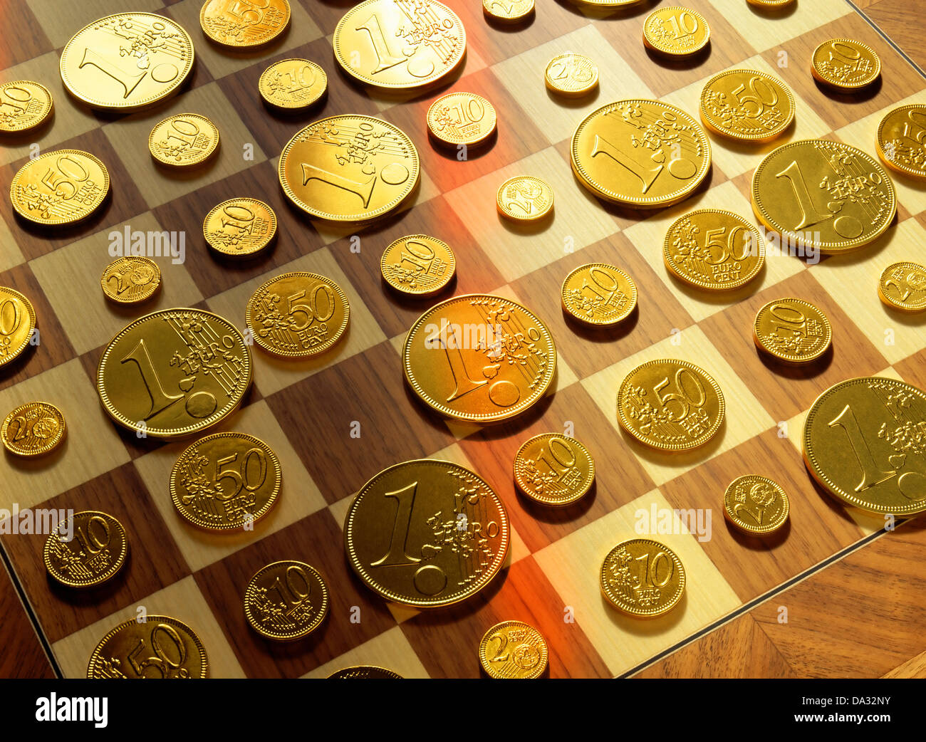 Golden Euro Coins On Chessboard Stock Photo 57845703 Alamy