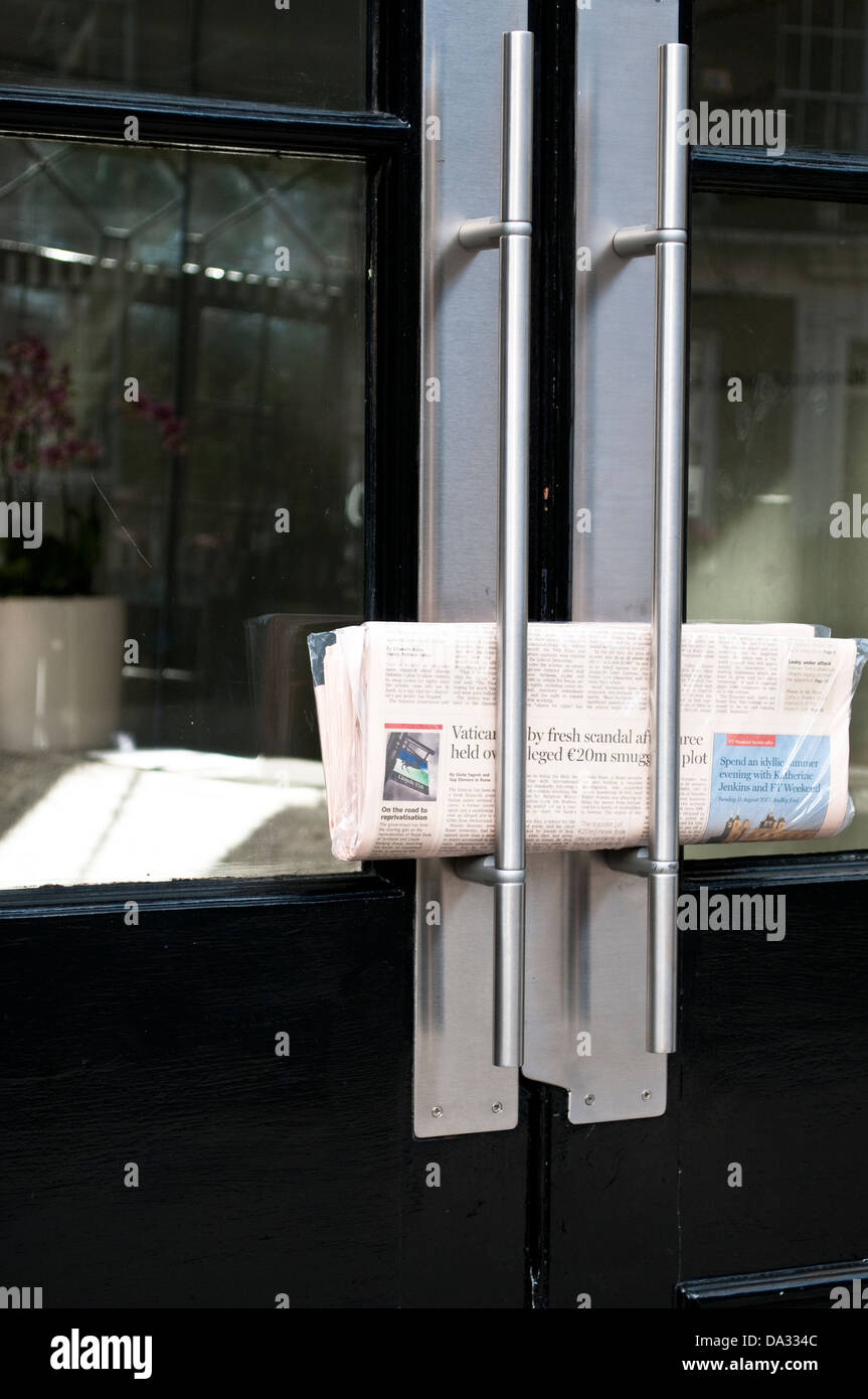 Financial Times delivered to a business in Holborn, London, WC1, UK - Stock Image