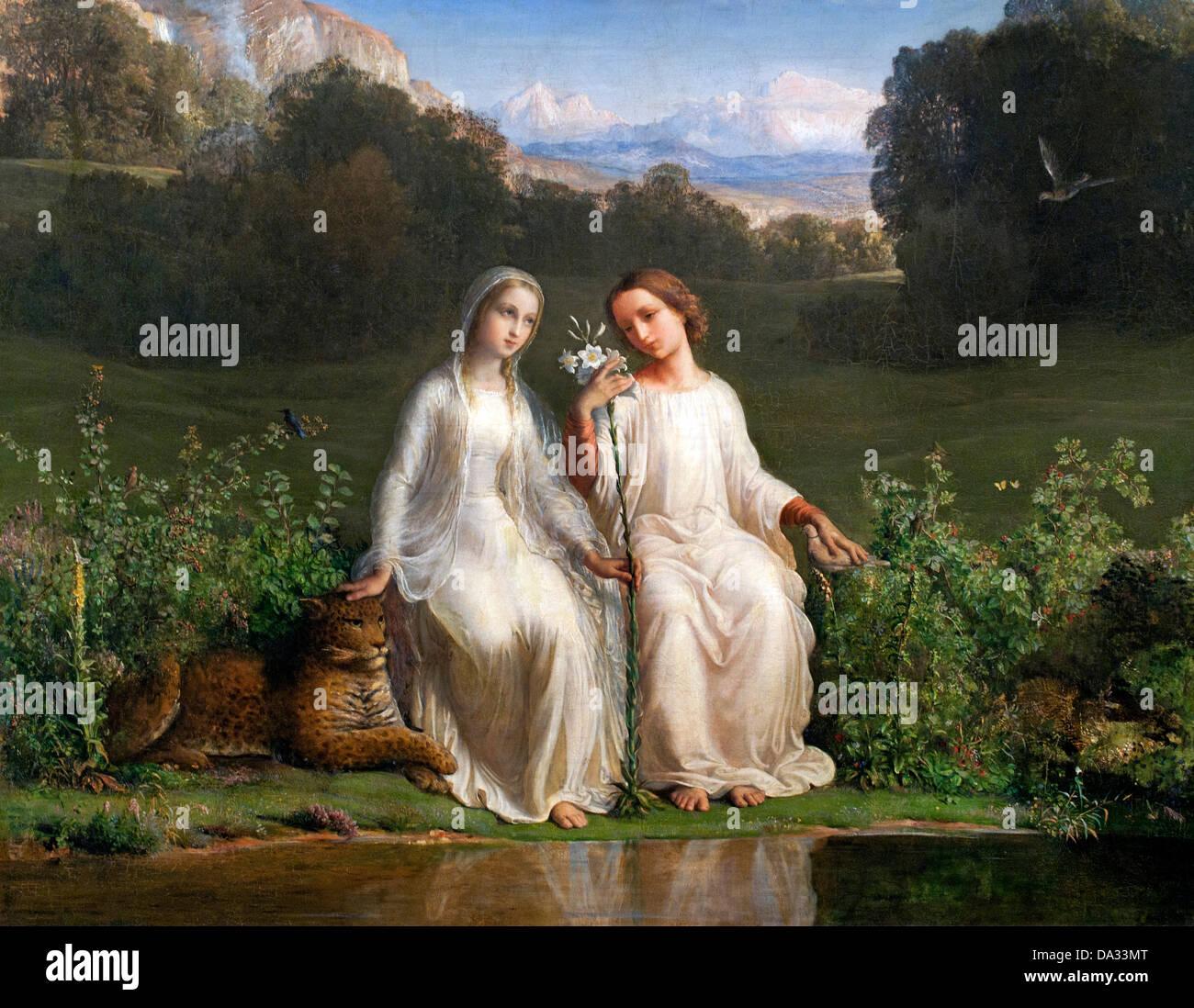 Virginitas - Le poeme de l'ame - The poem of the soul by Louis Janmot 1814-1892 France - Stock Image