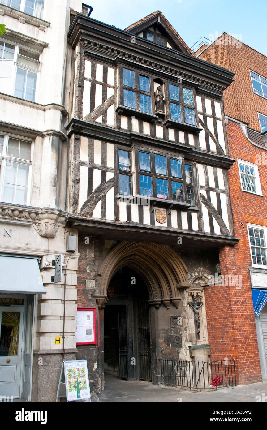Entrance to Saint Bartholomew the Great parish church, London EC1, UK - Stock Image