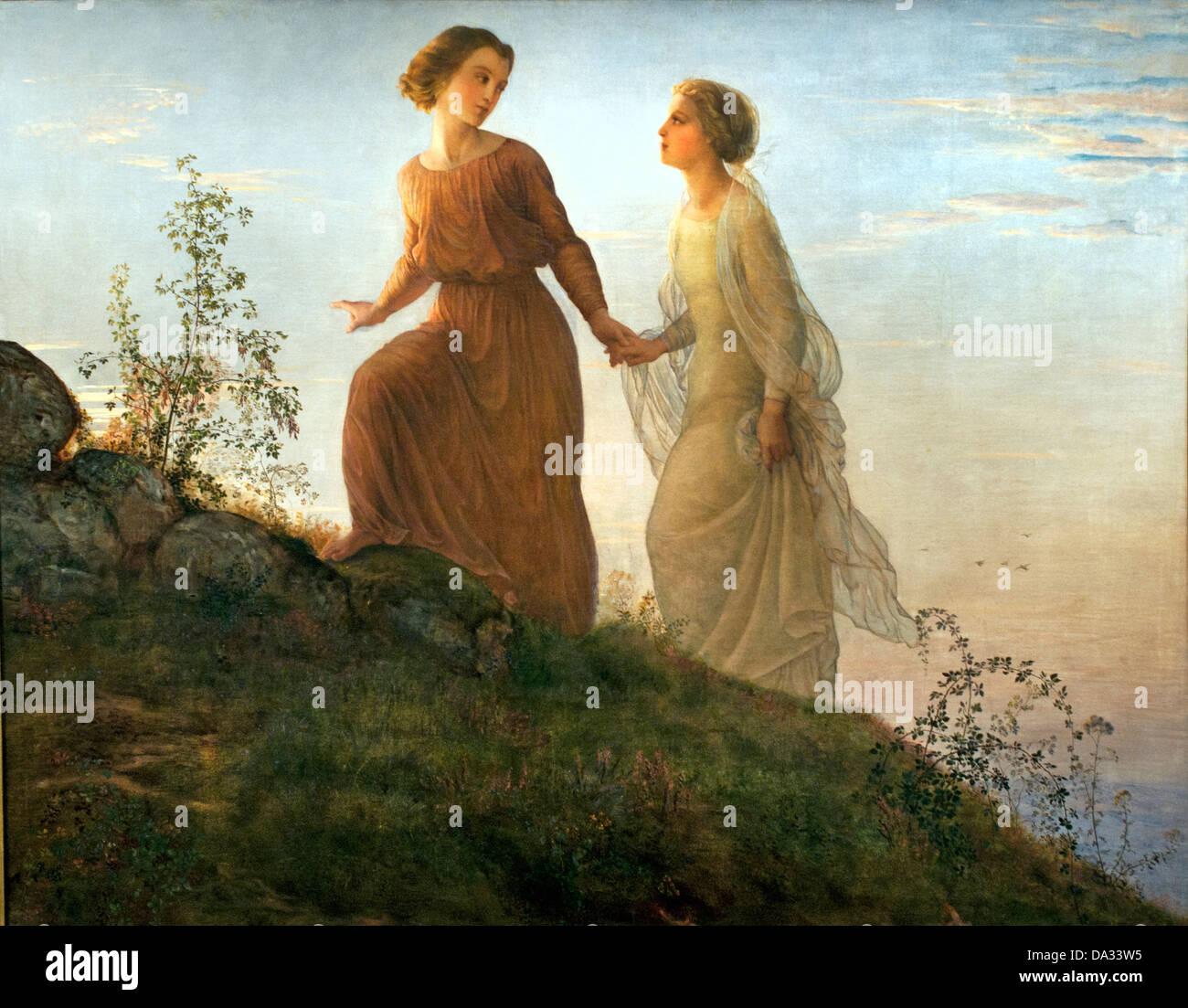 Sur la Montagne - Mountain  - Le poeme de l'ame - The poem of the soul by Louis Janmot 1814-1892 France - Stock Image