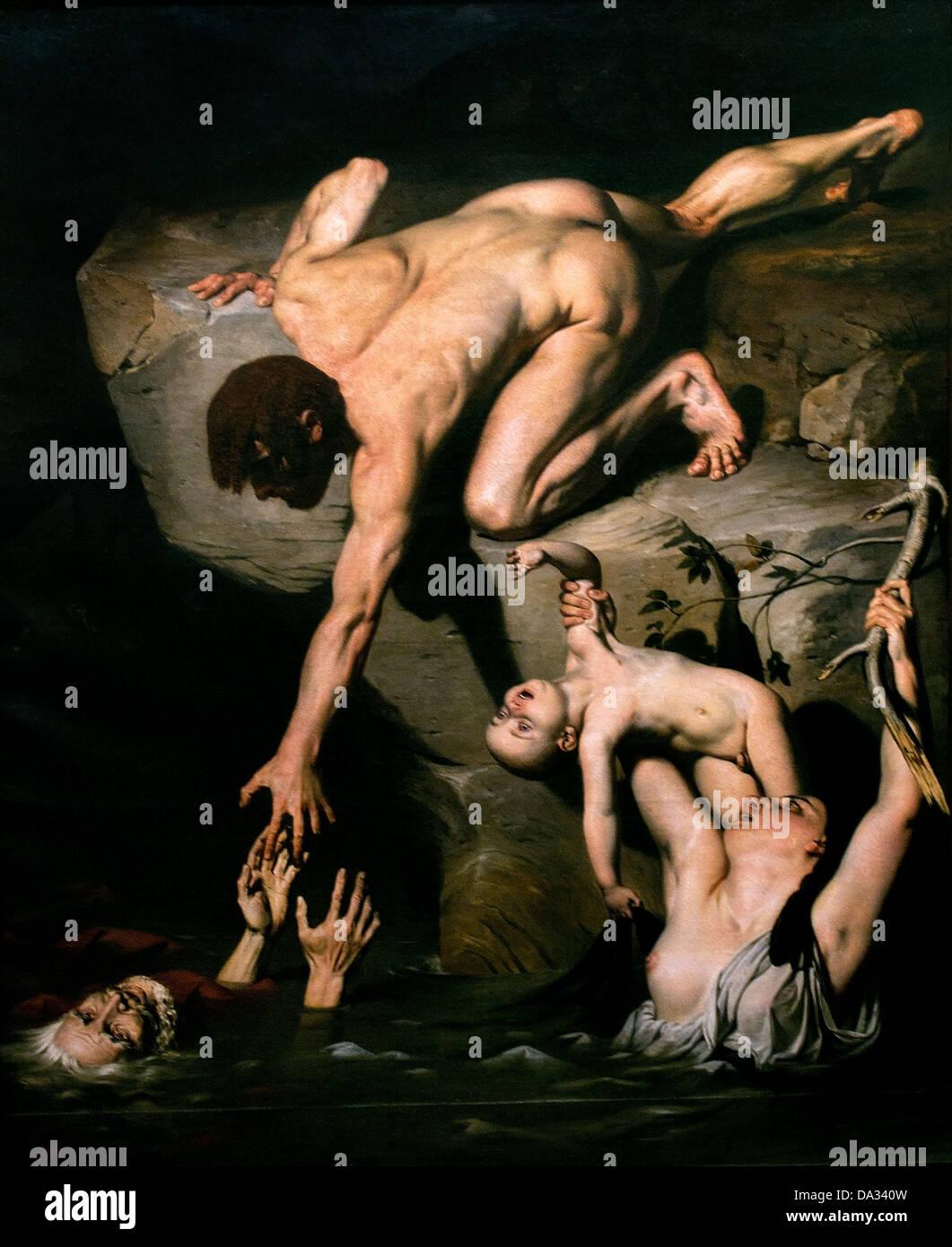 Une Scene de deluge - Scene of a flood 1827 Joseph Desire Court 1797 - 1865   France French - Stock Image