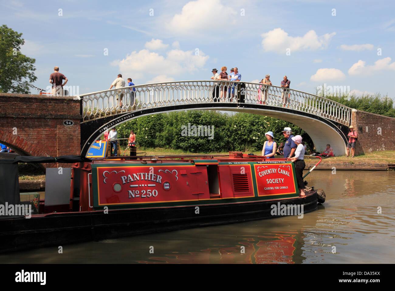 Historic working narrowboats at Braunston Turn - Stock Image