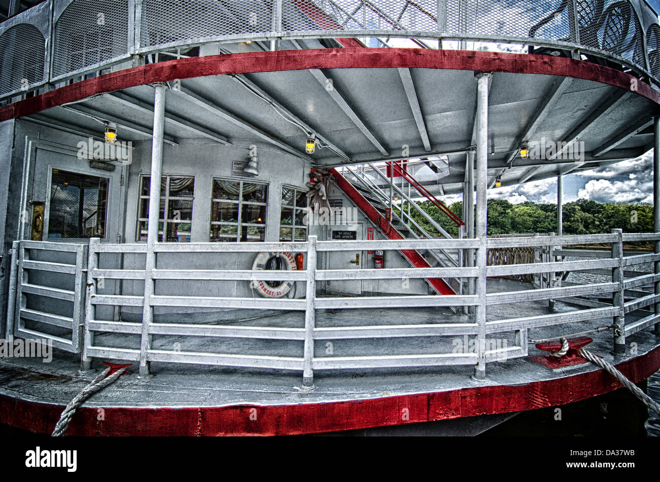 This is a grungy closeup image of a riverboat deck. - Stock Image