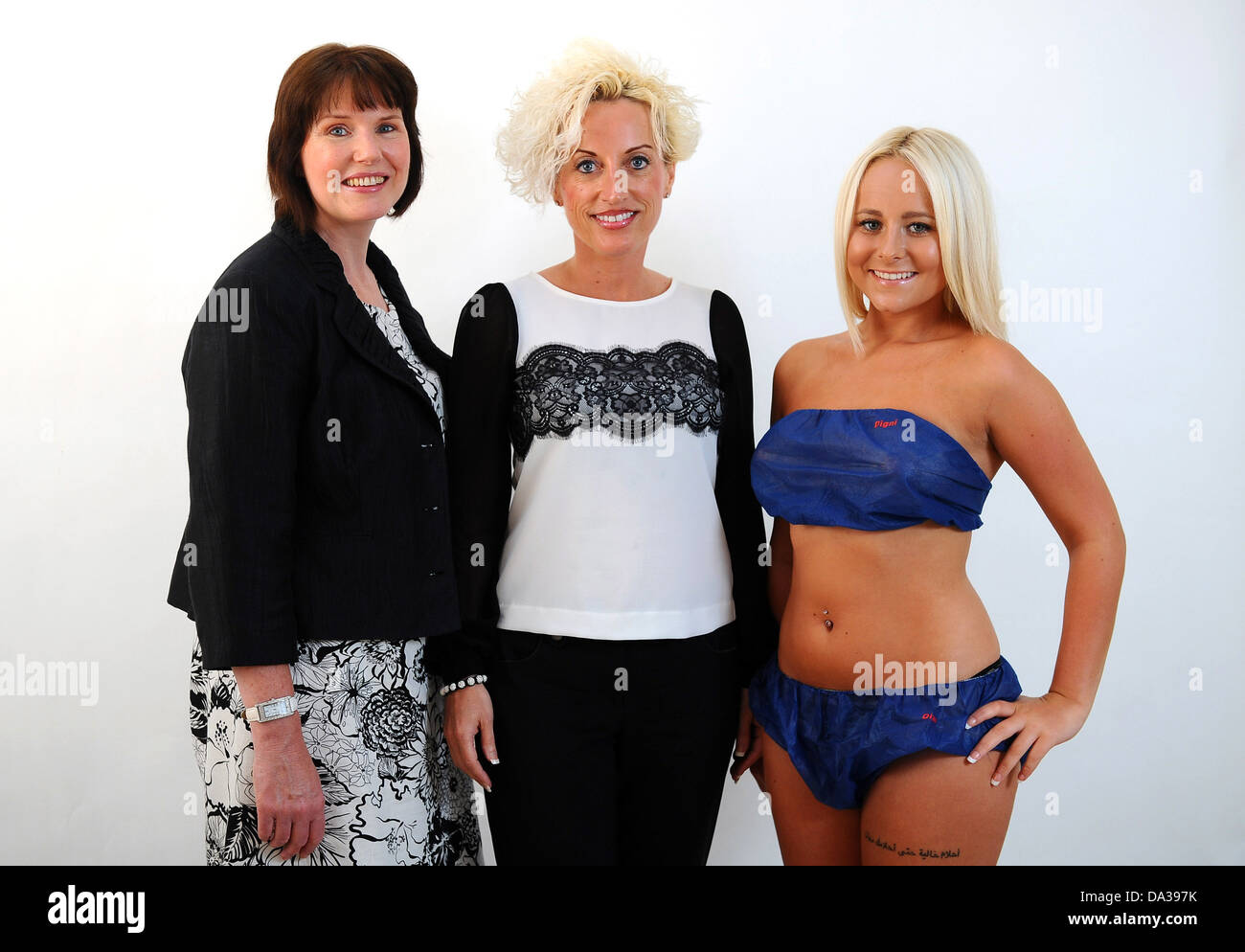 Theatre Nurses who have designed a paper bra and knickers after finding that women dread surgery because they feel - Stock Image