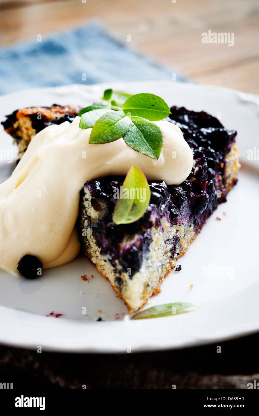 Homemade blueberry pie with whipped vanilla flavored cream - Stock Image