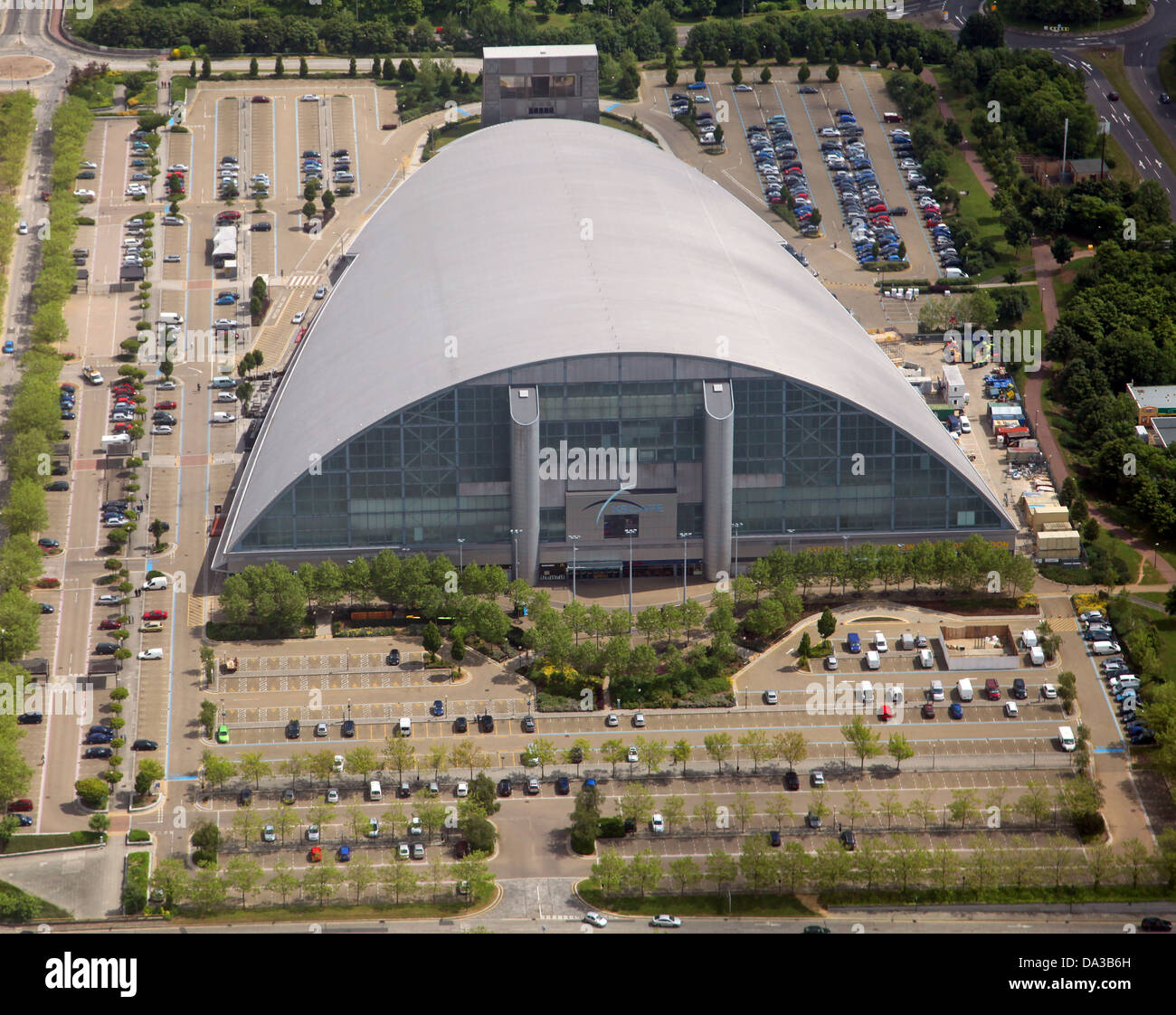 Great Aerial View Of Xscape Indoor Skiing Centre At Milton Keynes   Stock Image