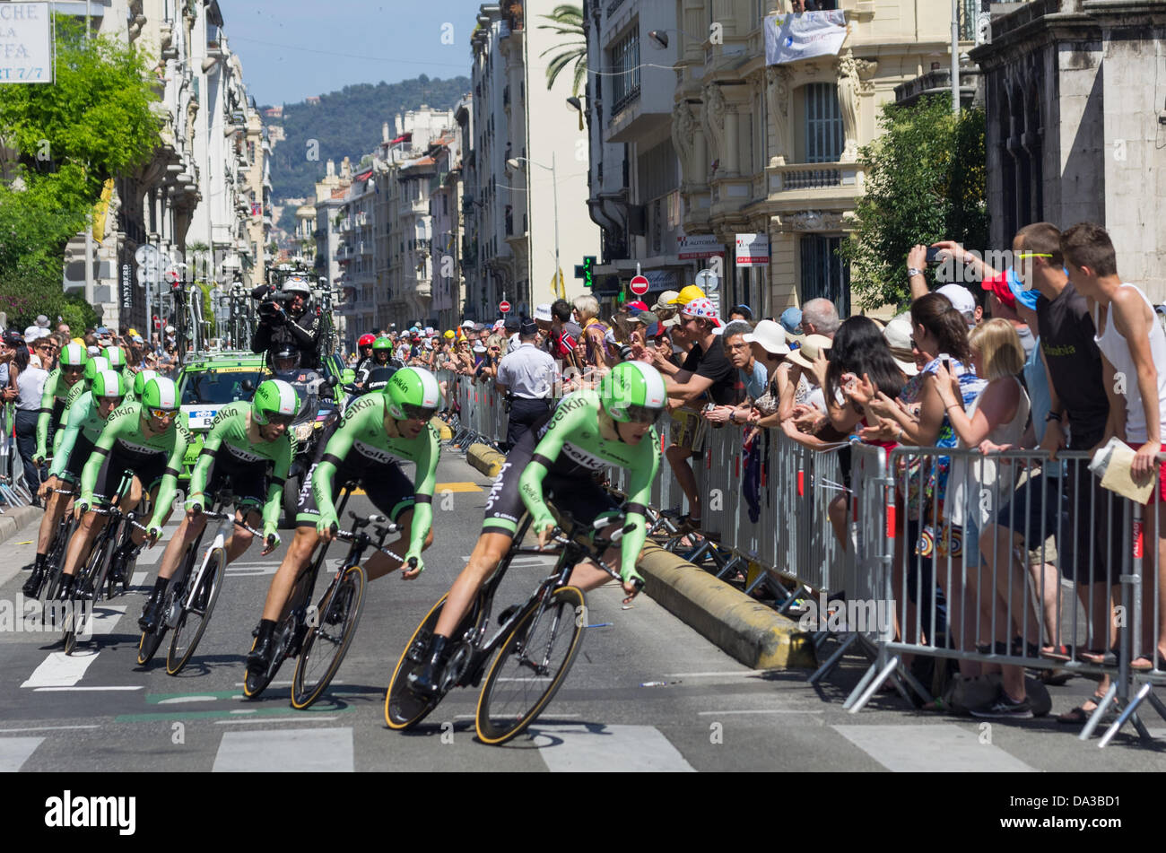 Nice, France. 2nd July, 2013. Riders of Belkin Pro Cycling team compete during the 25 km team time-trial and fourth Stock Photo
