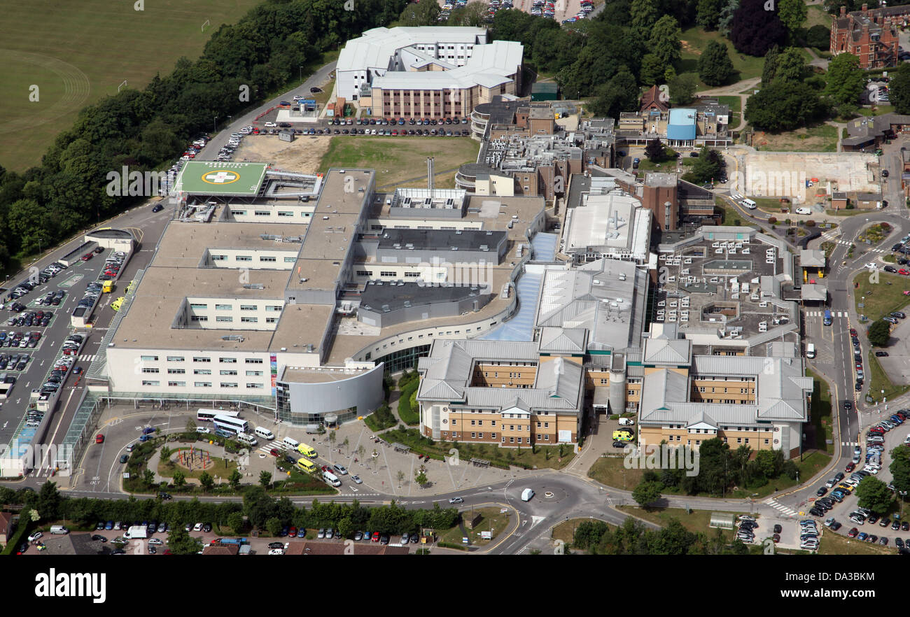 aerial view of Broomfield Hospital, Chelmsford, Essex - Stock Image