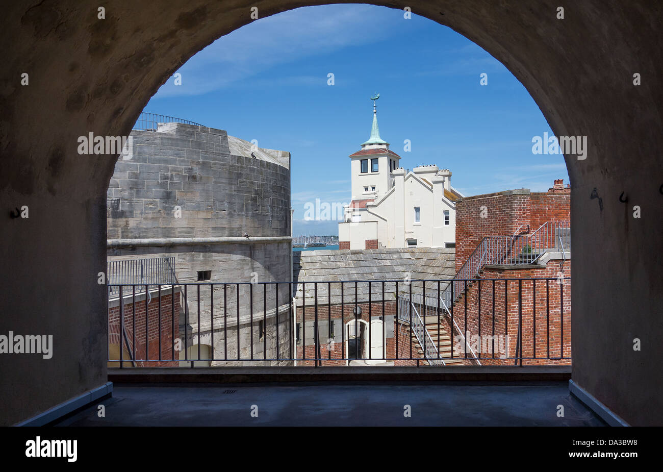 Old Portsmouth Fortifications The Round Tower and Tower House once the home of Marine Artist W L Wyllie - Stock Image