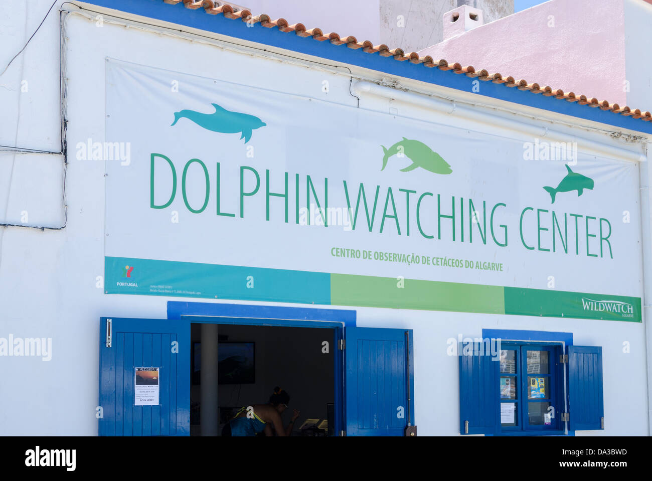 The Dolphin Watching Centre in the Portuguese fishing village of Ferragudo - Stock Image