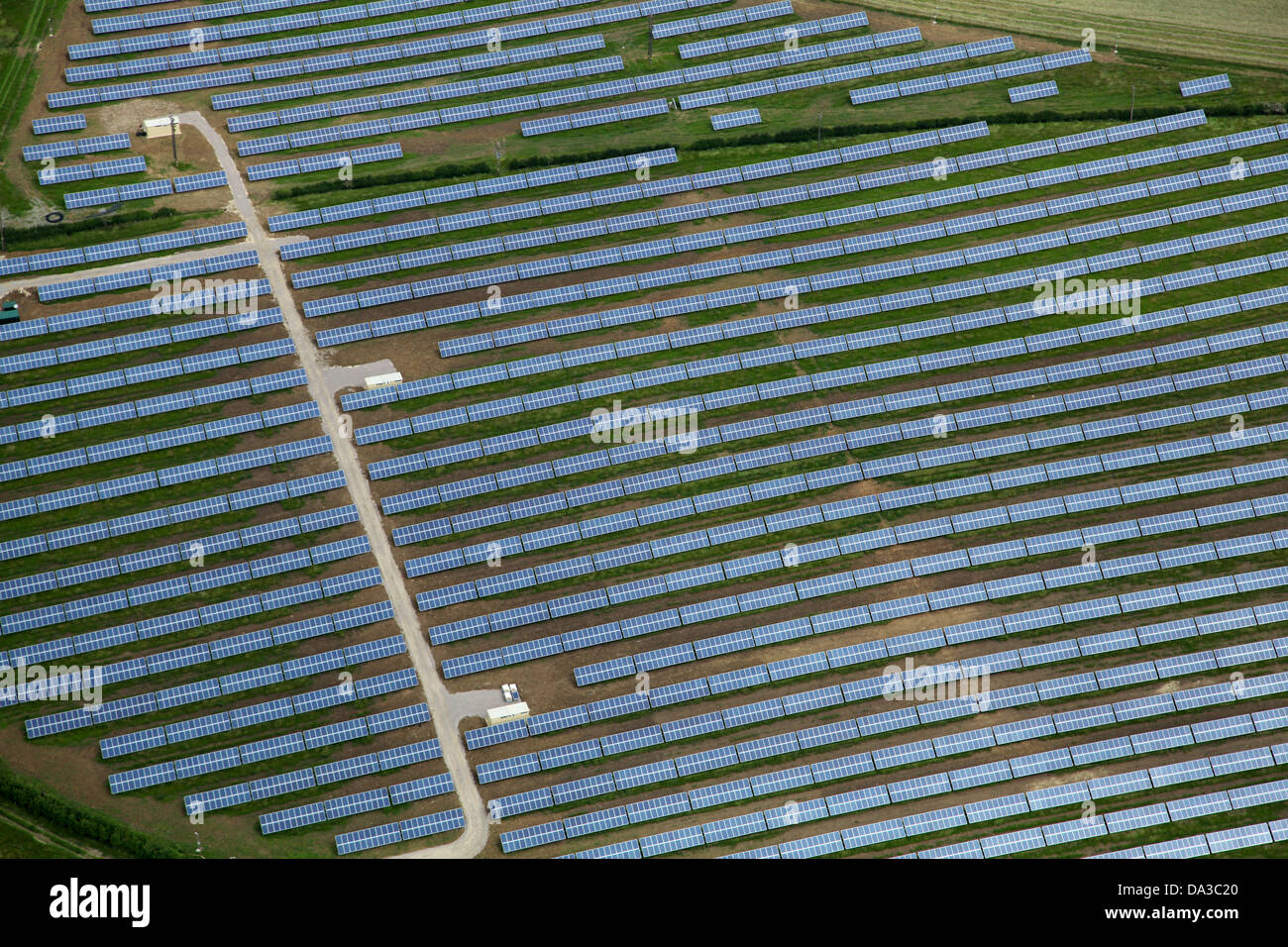 aerial view of a solar farm - a field of solar panels - Stock Image