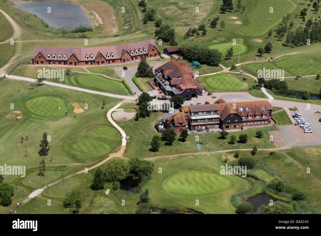 aerial view of Langdon Hills Golf & Country Club near Basildon, Essex - Stock Image