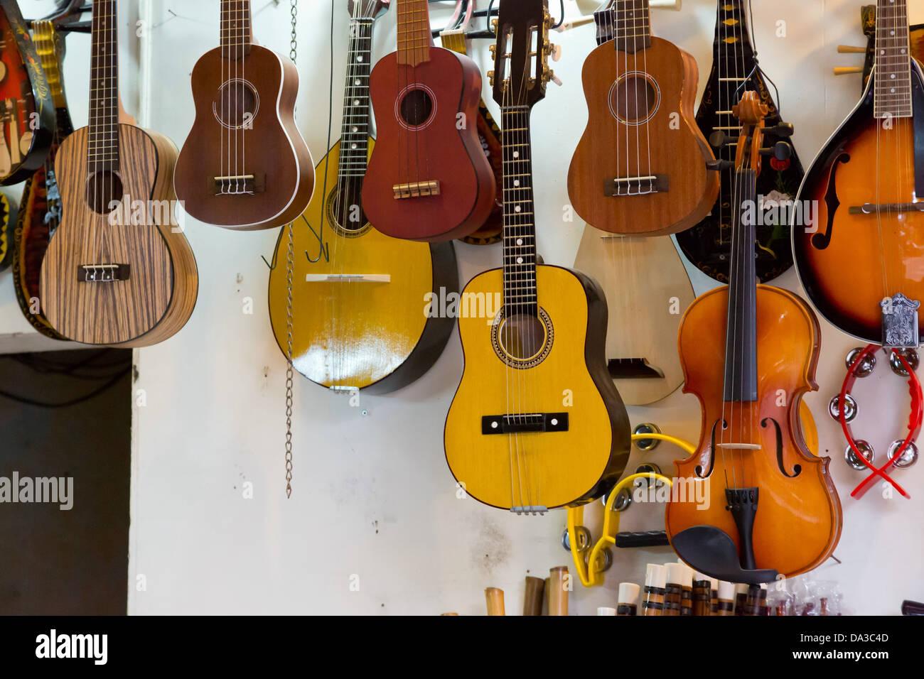 Guitars in the Old Quarter of Hanoi, Vietnam Stock Photo